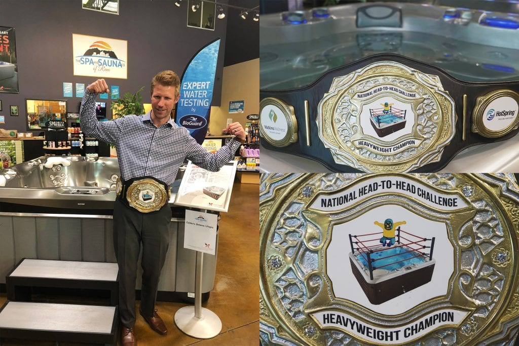 Spa and Sauna Company Sales Manager wears the Hot Tub World Championship Belt