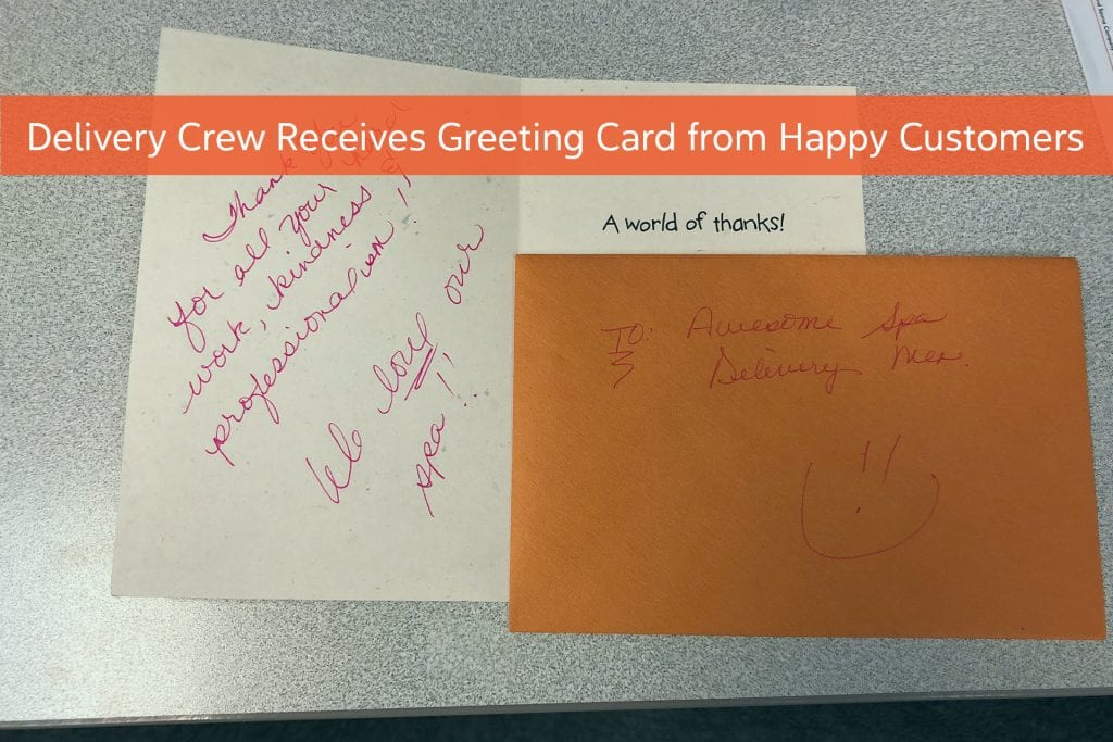 Delivery Crew Receives Greeting Card From Happy Customers