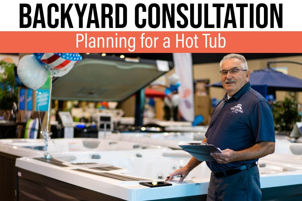 Hot Tub Salesperson ready to give you a backyard consultation
