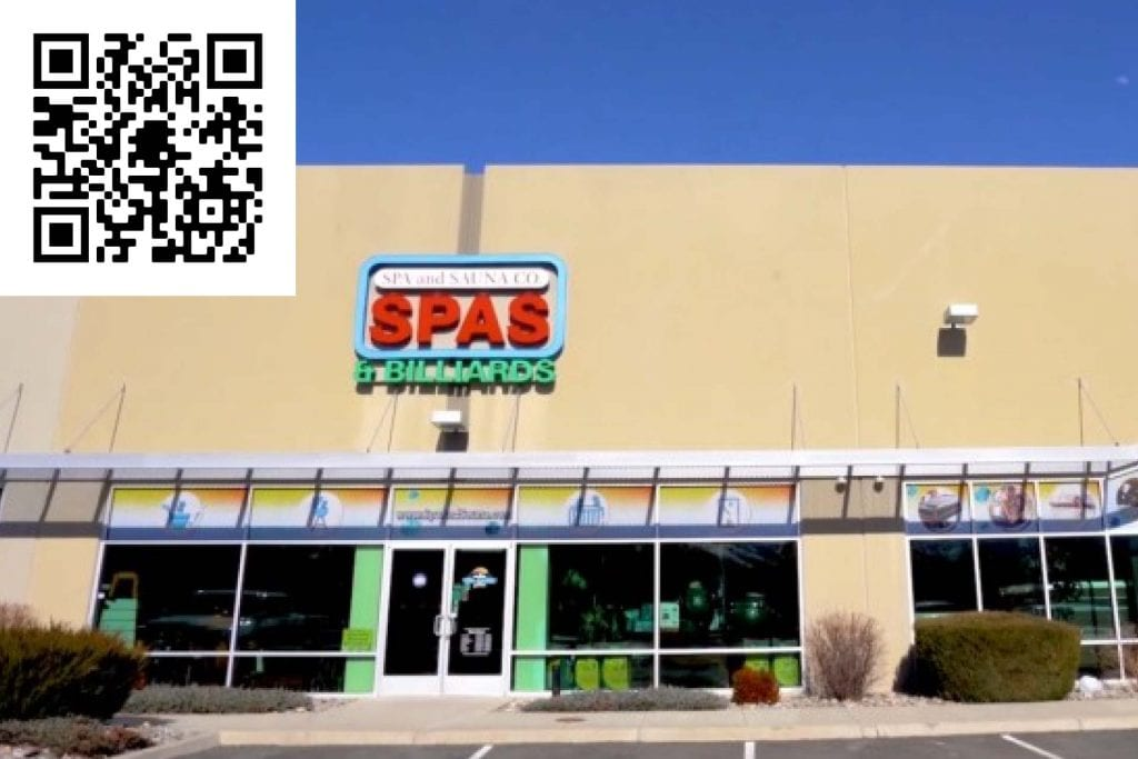 Review our South Virginia St. Showroom. Scan the QR code - Best Hot Tub Store Reno