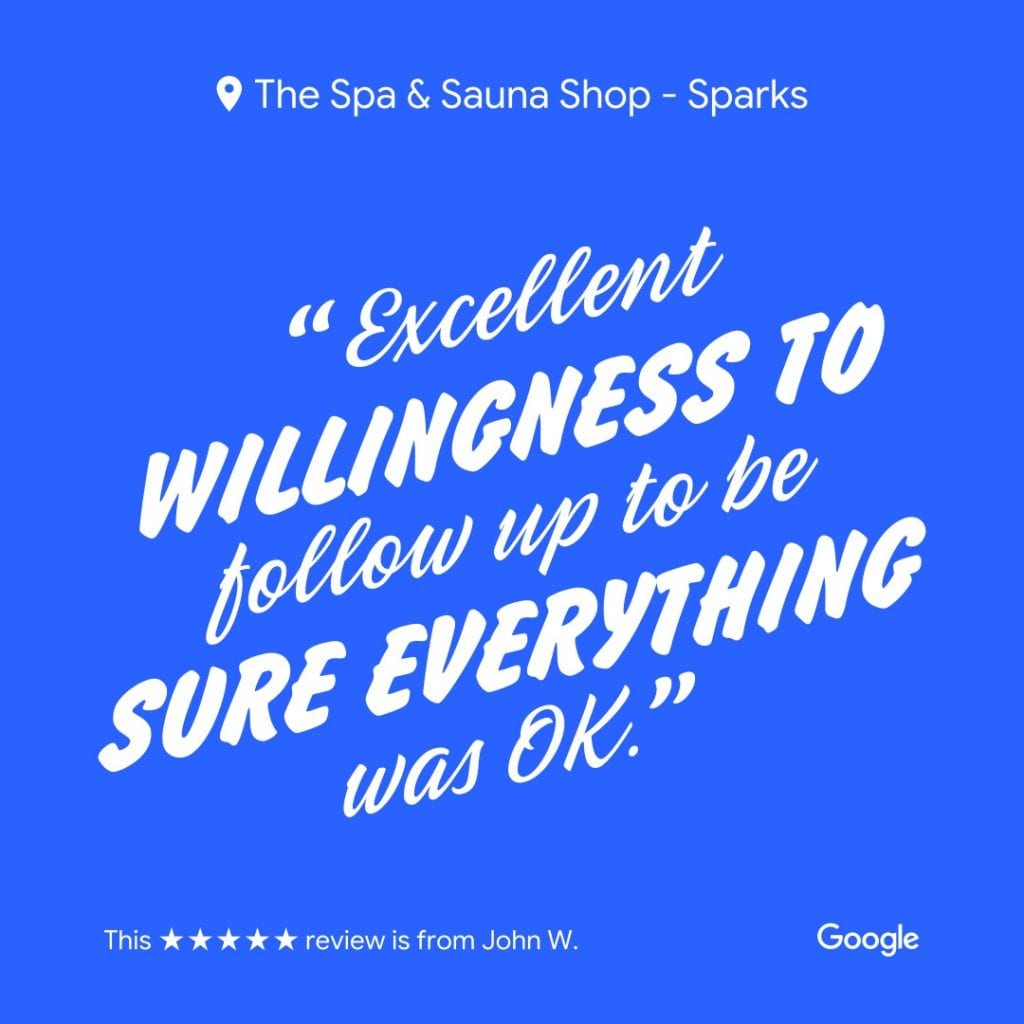 The Spa and Sauna Shop - Excellent Follow up